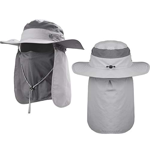 The Friendly Swede Sun Hats 2-Pack - Safari Hat for Men Women and Children, Outdoor Boonie Hat, for Camping, Fishing, Summer, Gardening (Light Grey with Neck Flap)