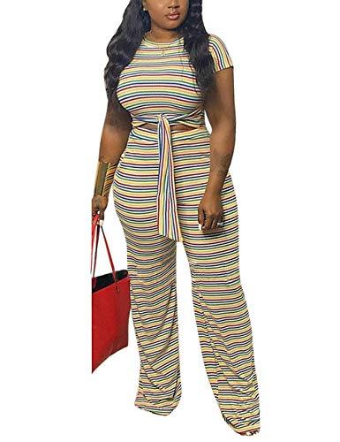 Women's Multicolor Striped 2 Piece Jumpsuit Short Sleeve Tie Front Crop Top and Wide Leg Long Pants Set Yellow X-Large