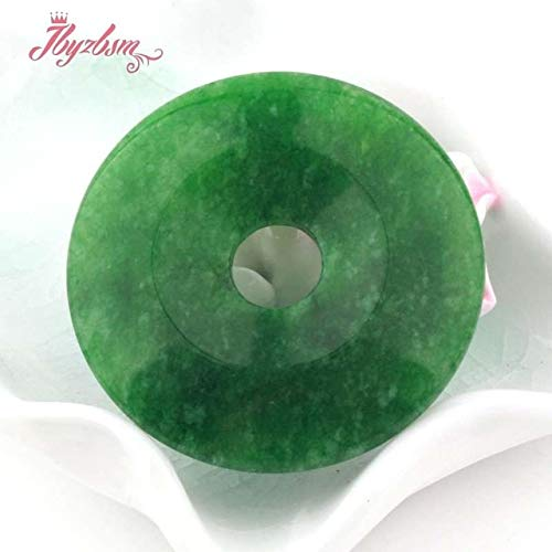 Calvas 25,35,40,45mm Round Rings Donut Apple Green Stone Beads 1 Pcs,for DIY Necklace Jewelry Making Necklace Pendant, (Color: - Pendant Donut 45mm