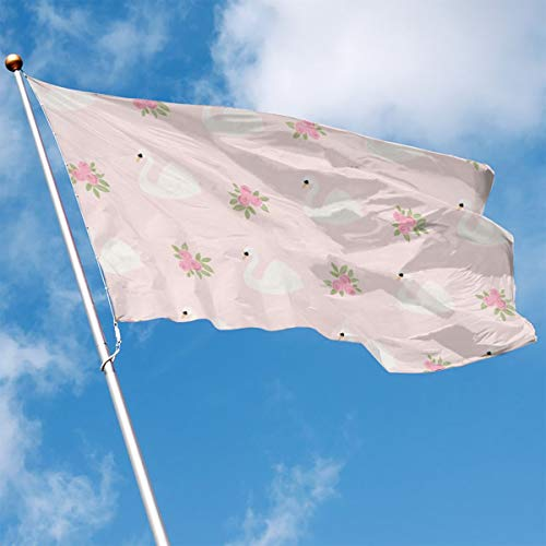 (Garden Flag Pink Swans Fabric Outdoor Yard Home Flag Wall Lawn Banner Polyester Flag Decoration 3' X)