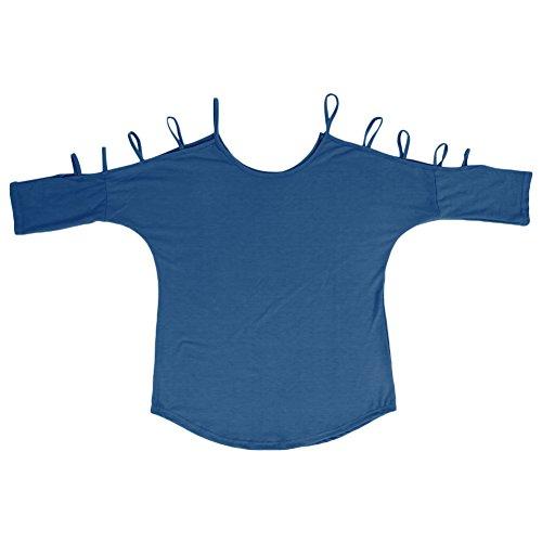 LAEMILIA Damen Sommer Schulterfrei Strand Bluse Tunika Tops Hemd Longshirt Tanktop (EU42, Blau-1)