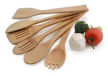 Kochbesteck  Culina Bambus Kochbesteck – 6-Teiliges Küchenhelfer Set: Amazon.de ...