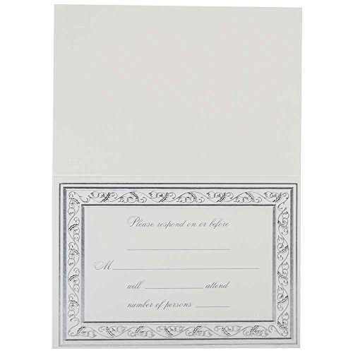 (JAM PAPER Reply Fill-in Cards Set - Elegant Silver Border - 25/Pack)