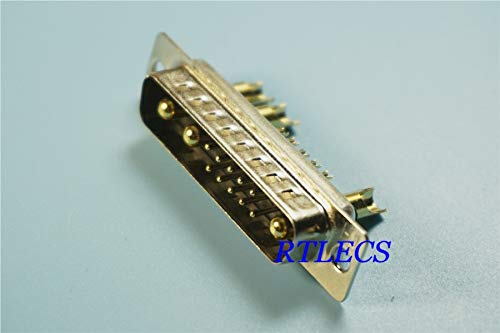 Gimax 50pcs D-Sub Connector 30 A High Power 13 Position 10+3 Combo Plug Male Pins Machine 13W3 Gold Panel Mount Wire Solder