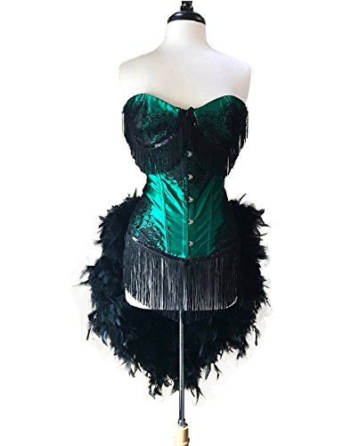 Wdress Emerald Lace Lolita Showgirl Saloon Girl Moulin Feather Burlesque Costume for $<!--$15.98-->