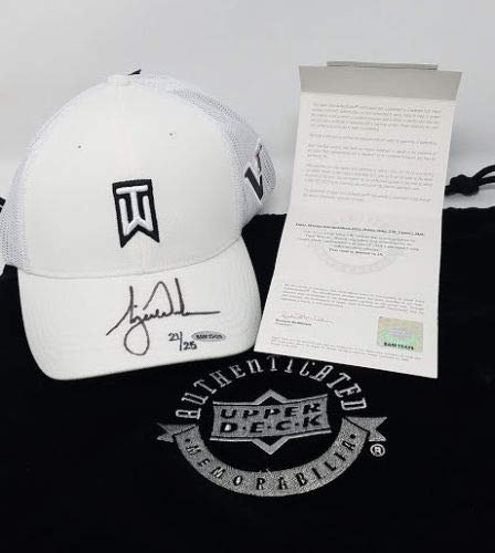 TIGER WOODS Autographed White Nike Tournament Style Hat UDA LE ()