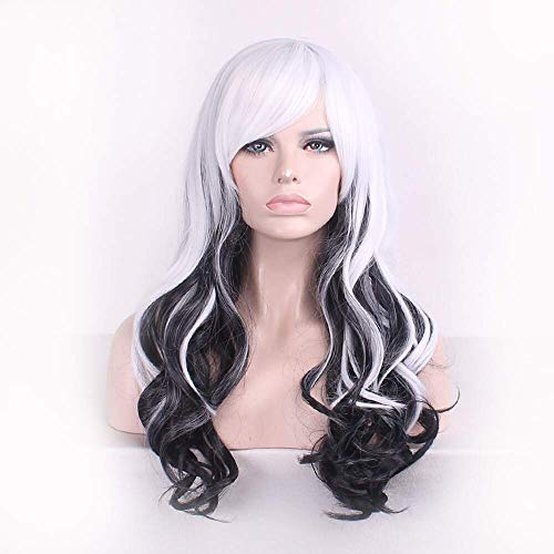 black white harajuku ombre wig pelucas pelo curly natural heat resistant anime cosplay erruque synthetic wigs women hair style Halloween -