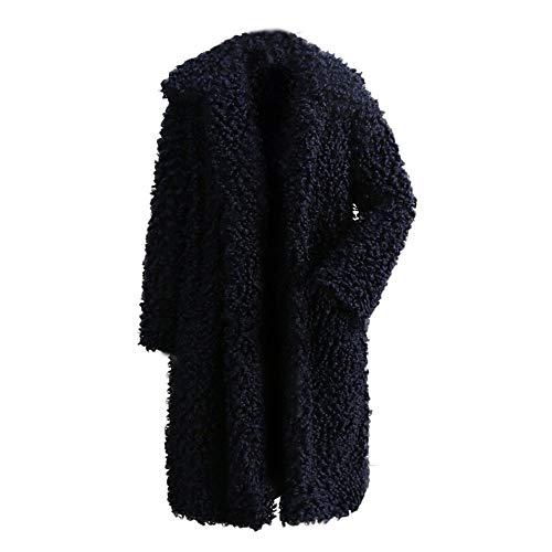 Longues Collier Amuster En Fourrure De À La Manches Couleur Outercoat D'hivermanteau Manteau Unie Col Mode Coton Navy Zq0ZRFS
