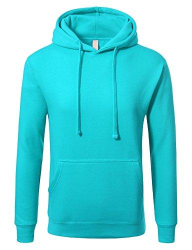 (JD Apparel Men's Premium Heavyweight Pullover Hoodie Sweatshirt S Aqua)