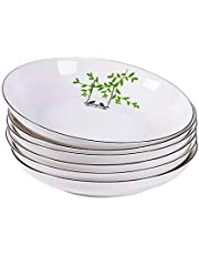CHILDIKE Porcelain Salad Pasta Bowls 24 Ounces Dinner Plate Bowls 8 Inch , Set of 6, Round, for Risotto, Dessert, Ice Cream, Rice, Beans (Happy Bird)