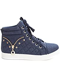 Women's Casual Lace up High Top Quilted Fashion Sneaker