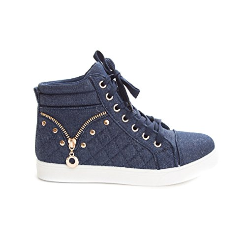 Fashion Soho Casual High Women's Shoes Quilted Sneaker up White Blue Top Lace rr8BcS