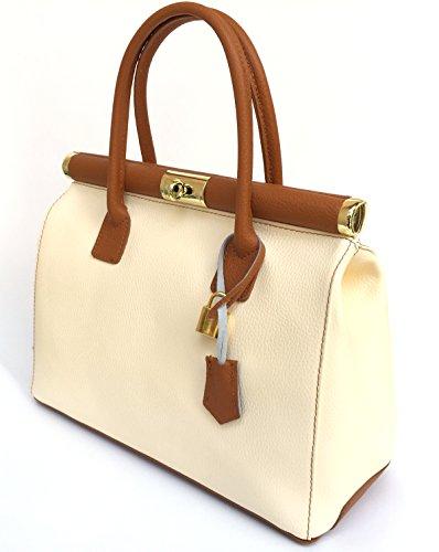 Superflybags Borsa Bauletto Donna A Mano In Vera Pelle modello Alina Classic Made In Italy beige cognac