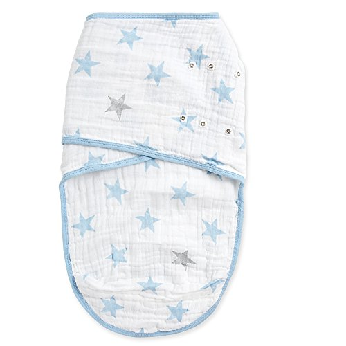 Aden by Aden + Anais Easy Swaddle Wearable Baby Wrap, 100% Cotton Muslin, Dapper Blue Stars- S/M