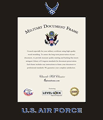 Church Hill Classics US Air Force Certificate Frame/Photo Frame - Wall Hanging, Black, Vertical Orientation - Official Air Force Logo and Word Mark (Certificate/Photo Size 8
