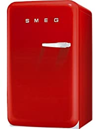 Smeg FAB5ULR 16 50s Retro Style Series Compact Refrigerator with 1.5 cu. ft. Capacity Absorption Cooling Automatic Defrost LED Interior Lighting and Adjustable Shelves in Red with Left