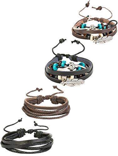REVOLIA 4Pcs Braided Leather Bracelets for Men Women Cuff Bracelets Charm Feather Adjustable