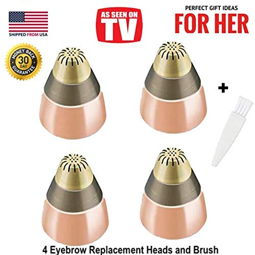(Eyebrow Hair Removal Replacement Heads for Women's Painless Eyebrows Hair Remover Trimmer For Good Finishing and Well Touch, As Seen On TV, Count 4)