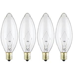 Westinghouse 4023 40-Watt, B 9-1/2 Decorative Ceiling Fan Bulb, Candelabra Base, Clear - 4 Pack