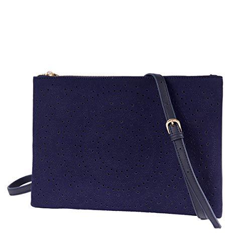 Crossbody Bag Handbag Women Cut Out Clutch Purse Vegan Shoulder Bags Medium Size(Navy Blue)