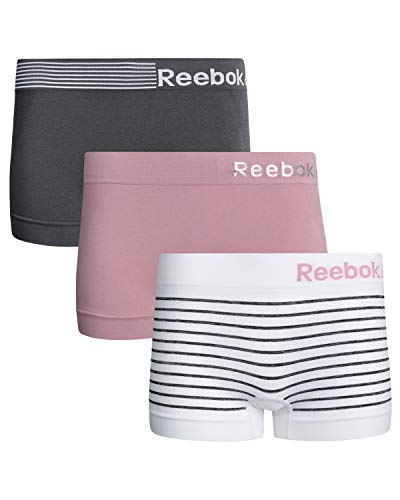 Reebok Womens 3 Pack Seamless Boyshort, Charcoal/White Stripe/Pink, Size Large'