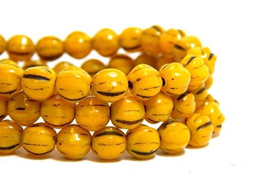 6mm Yellow Melon Round Beads Mustard Brown Picasso Fluted Czech Glass (Fluted Wood Ring)