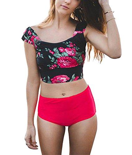 Mujer Traje de Baño Bikini Conjuntos Swimsuit Ropa de Baño, Bikini Tops Rayados y Panty Floral Dos Piezas Conjunto Rose