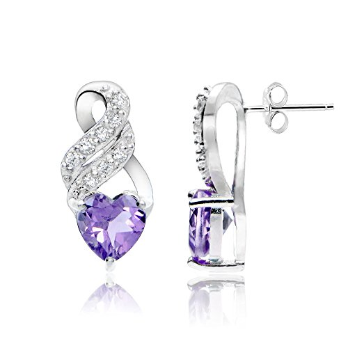 Sterling Silver Amethyst and White Topaz Heart Double Twist -