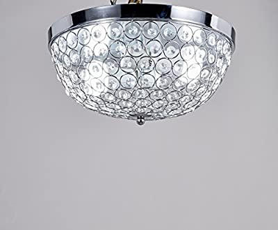 Central Park Flush Mount Crystal Chandelier Lighting, Diameter 13 inches, Height 7 inches, CPH-QSW-13-L2-S