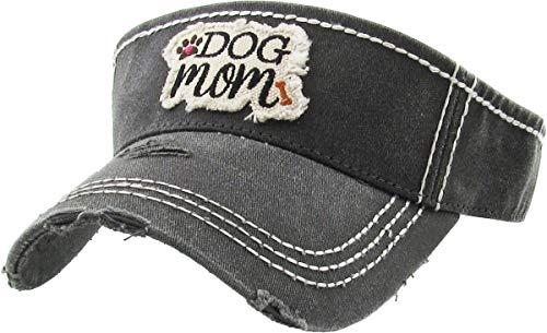 Mom Visor - H-201-DM06 Ponytail Visor Patch Hat - Dog Mom, Black