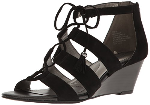 Bandolino Women's Opiuma Wedge Sandal, Black, 8.5 M US