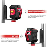 Laser Level Self Leveling, Meterk Switchable 3 Mode Horizontal, Vertical, Cross-Line Laser Level Rotatable 360 Degree, 50ft Measuring Range, Magnetic Pivoting Base, Carrying Pouch, Battery Included