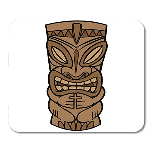 Boszina Mouse Pads Idol Brown Totem Tiki Hawaiian Pole Statue Polynesian Carving Tropical Mouse Pad for notebooks,Desktop Computers mats 9.5