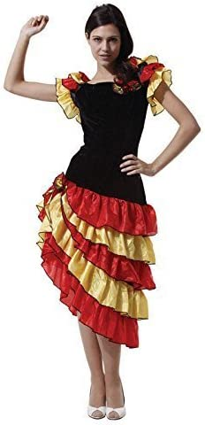 ESPAÑOL BAILARINA Disfraz, Flamenco Disfraz Mujer, One Talla 36/10 ...