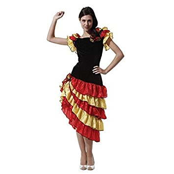 ESPAÑOL BAILARINA Disfraz, Flamenco Disfraz Mujer, One Talla ...