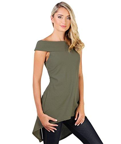 KRISP Top Mujer Largo Escote Espalda Hombros Descubiertos Camiseta Verano Caqui