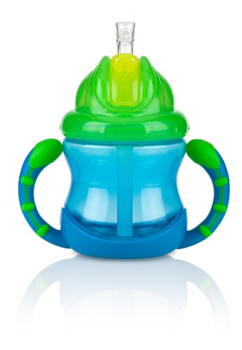 (Nuby Two-Handle Flip N' Sip Straw Cup, 8 Ounce, Blue with Green)