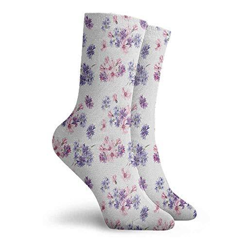 Watercolor Men Novelty Colorful Patterned Dress Socks Lilac Lavender Pink (Pink Sock Monkey Lovey)
