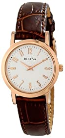 Bulova Women's Rose Goldtone and Brown Leather Strap Watch