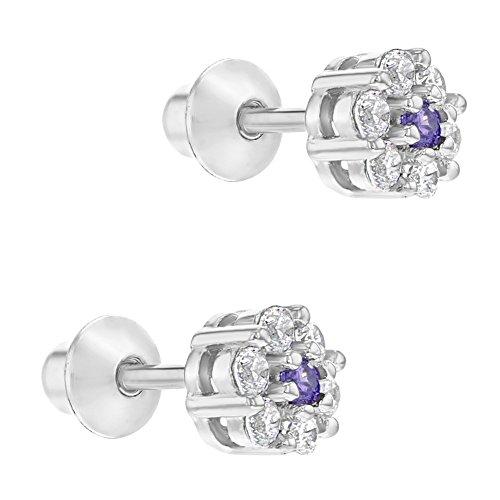 4527965d1f98 In Season Jewelry - 925 Plata de Ley Flor Circonita Clara y Morada Aretes  con Cierre