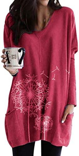 [해외]Yemenger Women Casual Long Sleeve Round Neck Pocket Graphic T-Shirts Blouses Sweatshirts Loose Pullover for Ladies Tops / Yemenger Women Casual Long Sleeve Round Neck Pocket Graphic T-Shirts Blouses Sweatshirts Loose Pullover for L...