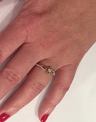 Diamond Promise Ring in Sterling Silver and 10k Rose Gold 1//10 cttw