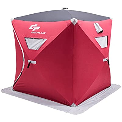 Goplus Portable Ice Shelter Pop-up Ice Fishing Tent Shanty w/ Bag and Ice Anchors Red