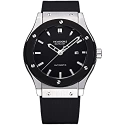 VEADONS Luxury Brand Men's Swiss Army Black Stainless Steel Face Sturdy Durable Mechanical Watch