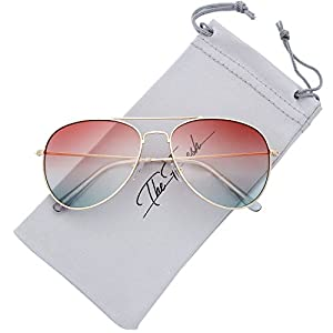 The Fresh Classic Large Metal Frame Oceanic Color Lens Aviator Sunglasses with Gift Box (Gold, Brown/Green)