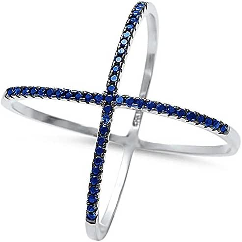 Sterling Silver Criss Cross Simulated Blue Sapphire Open Trendy Ring sizes 6-12