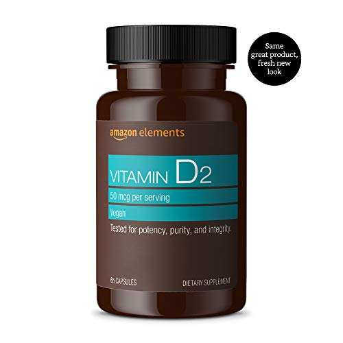 Amazon Elements Vitamin D2 2000 IU, Vegan, 65 Capsules, 2 month supply (Packaging may vary)