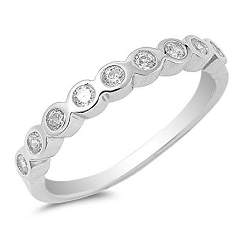Eternity Half Band Bezel (Half Eternity Band Round Bezel Set Cubic Zirconia 925 Sterling Silver Wedding Band for Ring 4-10)