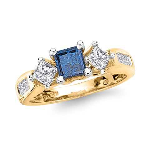 blue diamond ring princess cut - 8