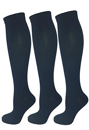 3 Pair Navy Blue Small/Medium Ladies Compression Socks, Moderate/Medium Compression 15-20 mmHg. Therapeutic, Occupational, Travel & Flight Knee-High Socks.